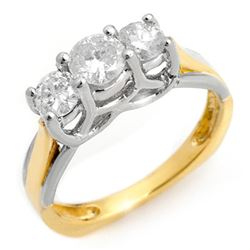 0.75 CTW Certified VS/SI Diamond Ring 14K 2-Tone Gold - REF-84A5X - 10261