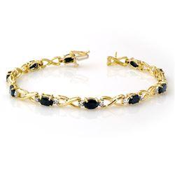 7.0 CTW Blue Sapphire & Diamond Bracelet 10K Yellow Gold - REF-52Y8K - 13598