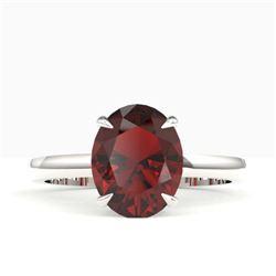 3.50 CTW Garnet Designer Inspired Solitaire Ring 18K White Gold - REF-36H2A - 22063