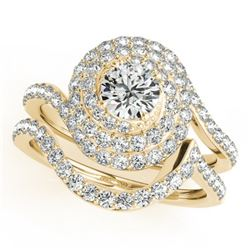 1.67 CTW Certified VS/SI Diamond 2Pc Wedding Set Solitaire Halo 14K Yellow Gold - REF-169H3A - 31297