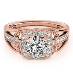 1.3 CTW Certified VS/SI Diamond Solitaire Halo Ring 18K Rose Gold - REF-388K8W - 26552