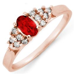 0.74 CTW Red Sapphire & Diamond Ring 14K Rose Gold - REF-28N4Y - 10200
