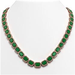 58.59 CTW Emerald & Diamond Halo Necklace 10K Rose Gold - REF-824X4T - 41331