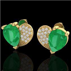 2.50 CTW Emerald & Micro Pave VS/SI Diamond Earrings 10K Yellow Gold - REF-33F8N - 20073