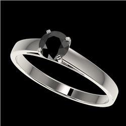0.50 CTW Fancy Black VS Diamond Solitaire Engagement Ring 10K White Gold - REF-19Y3K - 32955