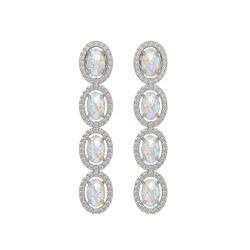 4.05 CTW Opal & Diamond Halo Earrings 10K White Gold - REF-112T8M - 40517