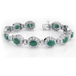 16 CTW Emerald & Diamond Bracelet 14K White Gold - REF-400X2T - 13405