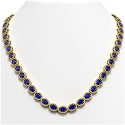34.11 CTW Sapphire & Diamond Halo Necklace 10K Yellow Gold - REF-537K5W - 40408