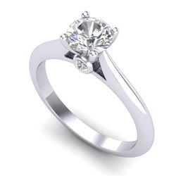 0.83 CTW VS/SI Diamond Solitaire Art Deco Ring 18K White Gold - REF-200X2T - 37283