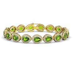 16.08 CTW Peridot & Diamond Halo Bracelet 10K Yellow Gold - REF-312N2Y - 41119