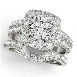 2.51 CTW Certified VS/SI Diamond 2Pc Wedding Set Solitaire Halo 14K White Gold - REF-312X8T - 30888