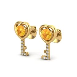 0.60 CTW Citrine & VS/SI Diamond Micro Pave Key Of Heart Earrings 14K Yellow Gold - REF-20T8M - 2266