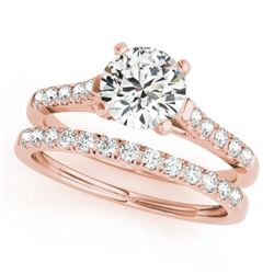 1.45 CTW Certified VS/SI Diamond Solitaire 2Pc Wedding Set 14K Rose Gold - REF-373A8X - 31695