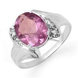 1.59 CTW Amethyst & Diamond Ring 10K White Gold - REF-17A3X - 12475