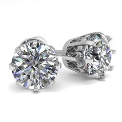 2.03 CTW VS/SI Diamond Stud Solitaire Earrings 18K White Gold - REF-518X2T - 35688