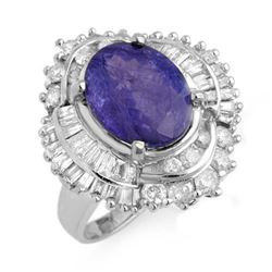 6.0 CTW Tanzanite & Diamond Ring 18K White Gold - REF-287N6Y - 13961