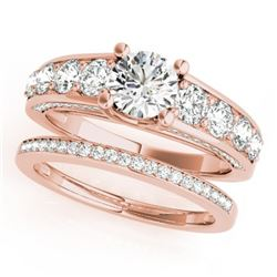 3.25 CTW Certified VS/SI Diamond 2Pc Set Solitaire Wedding 14K Rose Gold - REF-640H5A - 32100