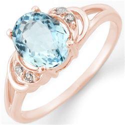 1.56 CTW Aquamarine & Diamond Ring 14K Rose Gold - REF-24K2W - 11207
