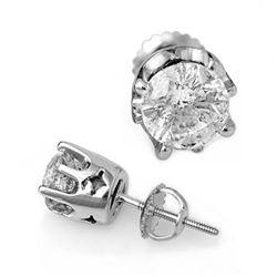 2.0 CTW Certified VS/SI Diamond Solitaire Stud Earrings 18K White Gold - REF-489N3Y - 11163