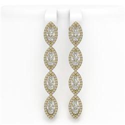 6.08 CTW Marquise Diamond Designer Earrings 18K Yellow Gold - REF-1136A2X - 42748