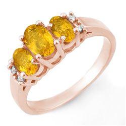 1.39 CTW Yellow Sapphire & Diamond Ring 14K Rose Gold - REF-35F3N - 10328