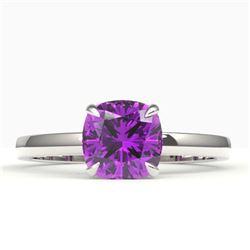 2 CTW Cushion Cut Amethyst Designer Engagement Ring 18K White Gold - REF-33F6N - 22129