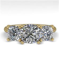 2.0 CTW Cushion Cut VS/SI Diamond 3 Stone Designer Ring 18K Yellow Gold - REF-447Y2K - 32476