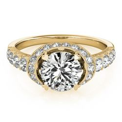 1.75 CTW Certified VS/SI Diamond Solitaire Halo Ring 18K Yellow Gold - REF-420T2M - 27026