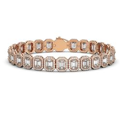 20.25 CTW Emerald Cut Diamond Designer Bracelet 18K Rose Gold - REF-4284T4M - 42843
