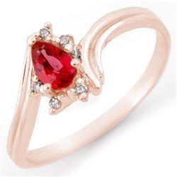 0.35 CTW Red Sapphire & Diamond Ring 18K Rose Gold - REF-26N4Y - 11450