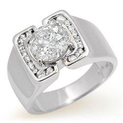 2.08 CTW Certified Diamond Men's Ring 14K White Gold - REF-570M2H - 14480