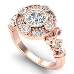 1.12 CTW VS/SI Diamond Solitaire Art Deco Ring 18K Rose Gold - REF-250H2A - 36978