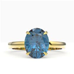 3.50 CTW London Blue Topaz Designer Solitaire Ring 18K Yellow Gold - REF-36Y2K - 22070