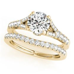 1.56 CTW Certified VS/SI Diamond Solitaire 2Pc Wedding Set 14K Yellow Gold - REF-213M5H - 31750