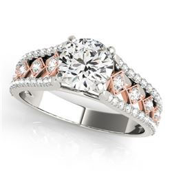 1.45 CTW Certified VS/SI Diamond Solitaire Ring 18K White & Rose Gold - REF-388M2H - 27901