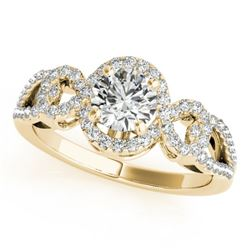 1.15 CTW Certified VS/SI Diamond Solitaire Halo Ring 18K Yellow Gold - REF-212H2A - 26684