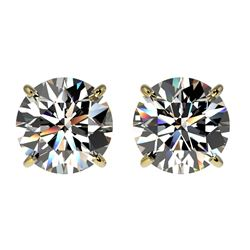 2 CTW Certified H-SI/I Quality Diamond Solitaire Stud Earrings 10K Yellow Gold - REF-285F2N - 33082
