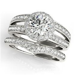 1.91 CTW Certified VS/SI Diamond 2Pc Wedding Set Solitaire Halo 14K White Gold - REF-421N6Y - 31232
