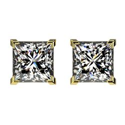 2 CTW Certified VS/SI Quality Princess Diamond Stud Earrings 10K Yellow Gold - REF-585A2X - 33096