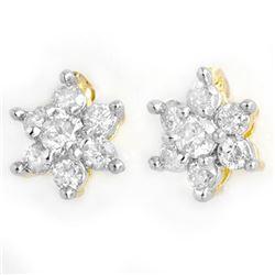 0.50 CTW Certified VS/SI Diamond Earrings 14K Yellow Gold - REF-35K6W - 13582