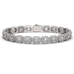 16.72 CTW Emerald Cut Diamond Designer Bracelet 18K White Gold - REF-3553N8Y - 42752