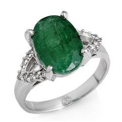 4.44 CTW Emerald & Diamond Ring 14K White Gold - REF-67K6W - 12696