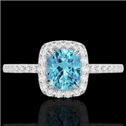 1.25 CTW Sky Blue Topaz & Micro Pave VS/SI Diamond Halo Ring 10K White Gold - REF-34N5Y - 22912