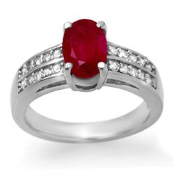 3.38 CTW Ruby & Diamond Ring 14K White Gold - REF-60N5Y - 14274