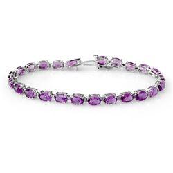 10.10 CTW Amethyst Bracelet 10K White Gold - REF-46M8H - 13919