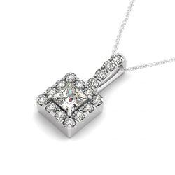 1.75 CTW Princess VS/SI Diamond Solitaire Halo Necklace 14K White Gold - REF-437M3H - 30223