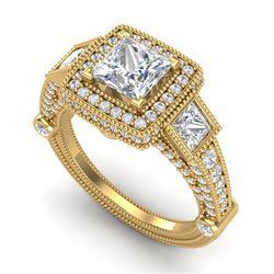 3 CTW Princess VS/SI Diamond Solitaire Art Deco 3 Stone Ring 18K Yellow Gold - REF-563K6W - 37135