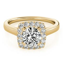 1.37 CTW Certified VS/SI Diamond Solitaire Halo Ring 18K Yellow Gold - REF-393N5Y - 26283