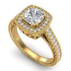 1.77 CTW Cushion VS/SI Diamond Art Deco Ring 18K Yellow Gold - REF-459A3X - 37033
