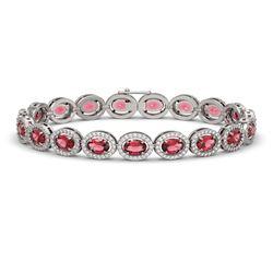 13.87 CTW Tourmaline & Diamond Halo Bracelet 10K White Gold - REF-271M6H - 40469
